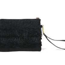 Total black purse with textures back