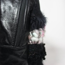 pink and black backpack detail