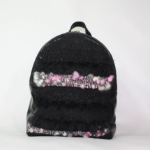 pink and black backpack front